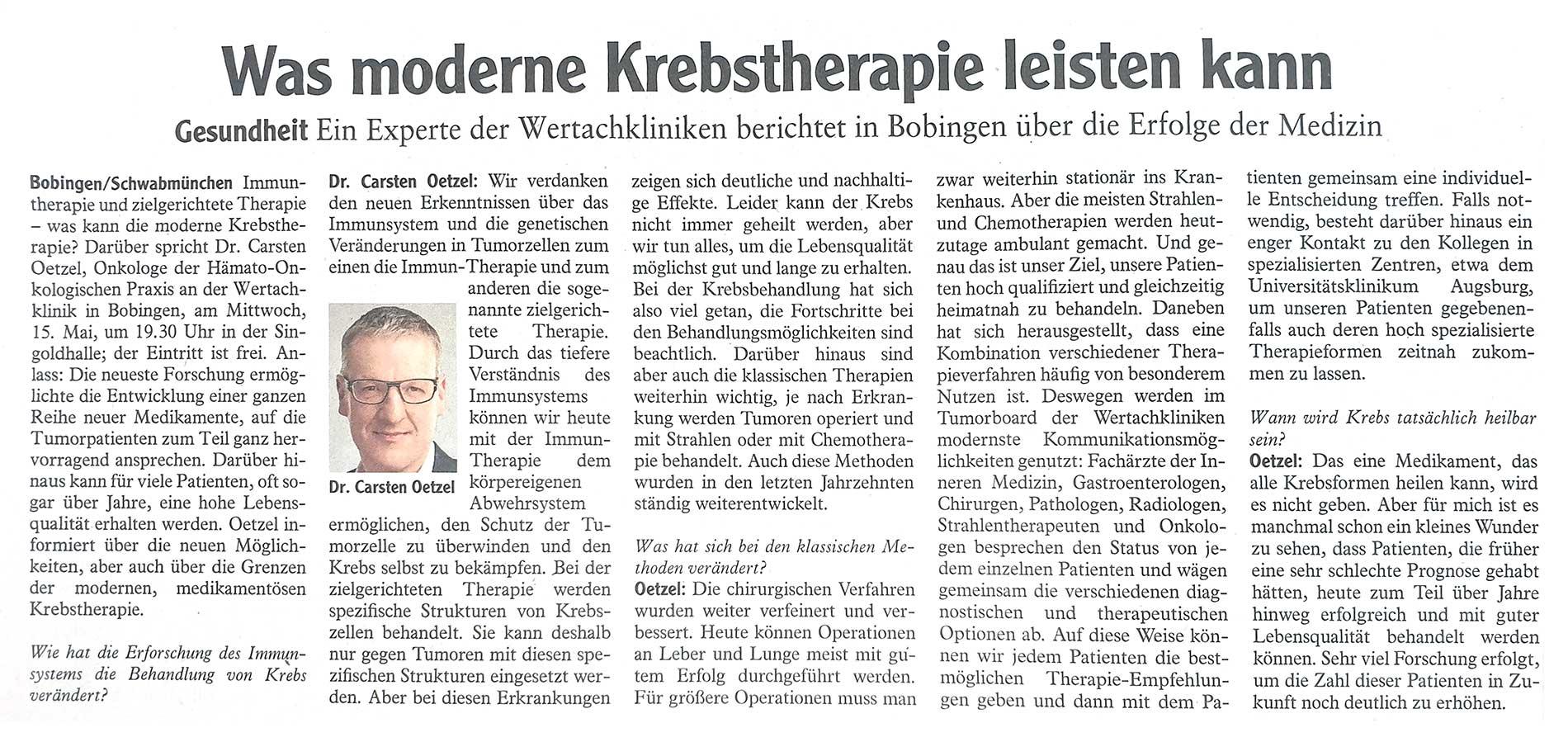 """Interview mit Dr. Carsten Oetzel zum Thema """"Moderne Krebstherapie""""."""