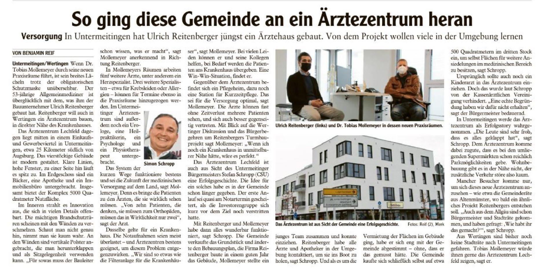 Artikel der Augsburger Allgemeinen LK Dillingen vom 09.01.2021